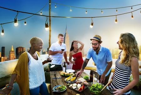 Diverse RoofTop Summer Party Fun Concetto Archivio Fotografico - 44736780