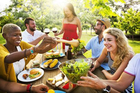 dining out: Friends Outdoors Party Celebration Hanging out Concept