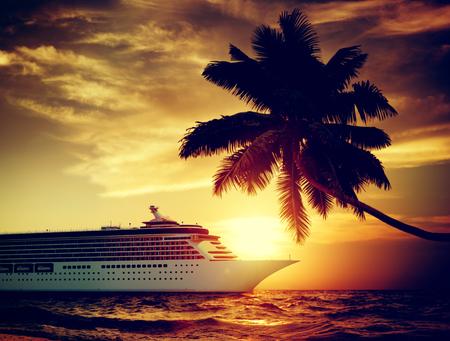 passenger ships: Yacht Cruise Ship Sea Ocean Tropical Scenic Concept Stock Photo