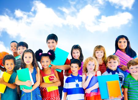 kids learning: Diversity Children Friendship Innocence Smiling Concept Stock Photo