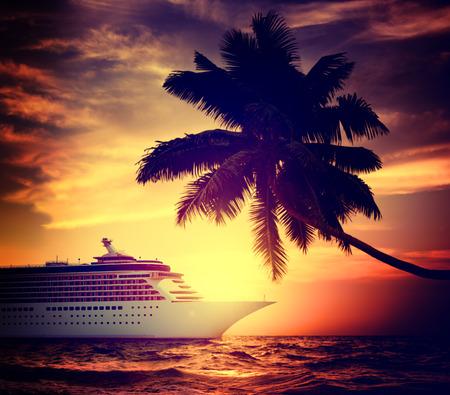 cruise ship: Yacht Cruise Ship Sea Ocean Tropical Scenic Concept Stock Photo