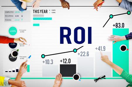 investment risks: Roi Return On Investment Analysis Finance Concept