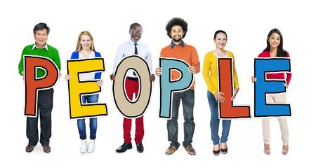 la gente: Diverse persone che tengono Testo Persone