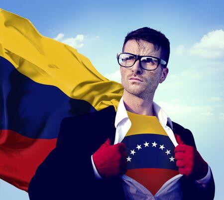 bandera de venezuela: Empresario Superhero Pa�s Venezuela Bandera Cultura Concepto de alimentaci�n