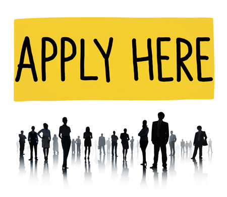 new opportunity: Apply Here Opportunity Hire Employment Concept Stock Photo