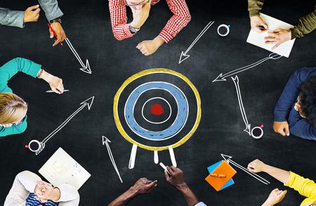 목표 대상 성공 흡인 목표 영감 개념 스톡 콘텐츠