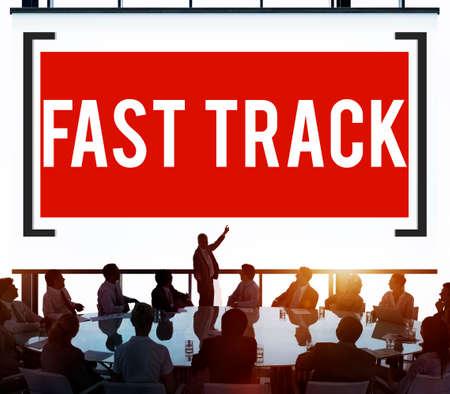 fast track: Fast Track Increase Improvement Development Raising Concept Stock Photo