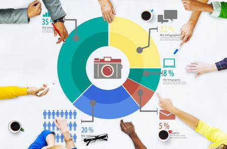 Analyse Analytische Marketing Delen Grafiek Diagram Concept