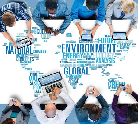 business: Environment Natural Sustainability Global World Map Concept Stock Photo
