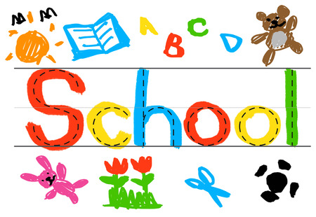Colorful drawing of the word school