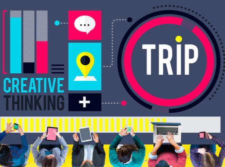 destinations: Trip Adventure Travel Destinations Recreation Concept
