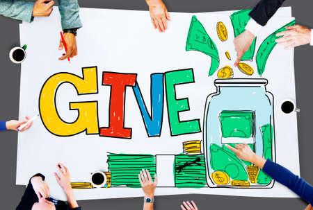 volunteer: Give Help Donation Charity Volunteer Concept Stock Photo