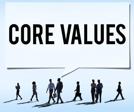 nucleo: Valores Fundamentales Core Focus Objetivos Ideolog�a Uso principal Concepto Foto de archivo