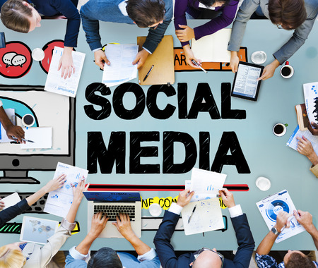 business media: Social Media Social Networking Technology Connection Concept
