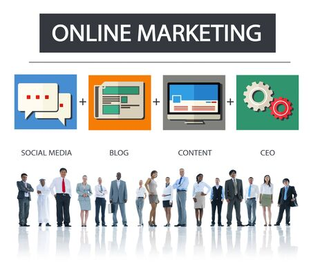 marketing concept: Online Marketing Business Content Strategy Target Concept Stock Photo