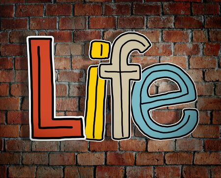 single word: Life Brick wall Single Word Text Background Clean Concept