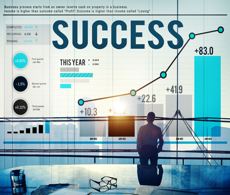stock chart: Success Successful Goal Achievement Complete Concept Stock Photo
