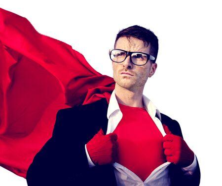 courage: Superhero Businessman Professional Success White Collar Worker Concept