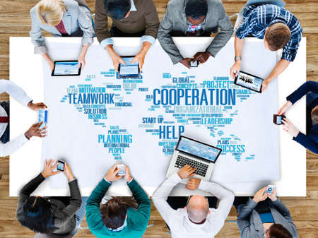 earth map: Cooperation Teamwork Assistance Help Support Concept Stock Photo