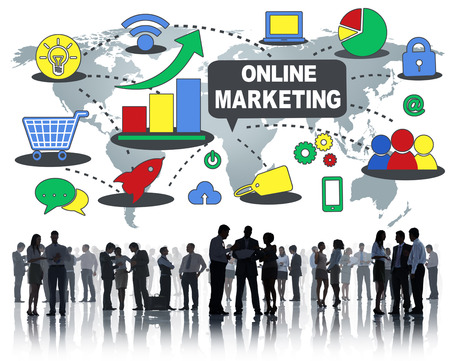 People with online marketing concept