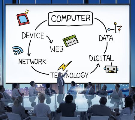electronical: Computer Global Communications Connection Networking Concept Stock Photo