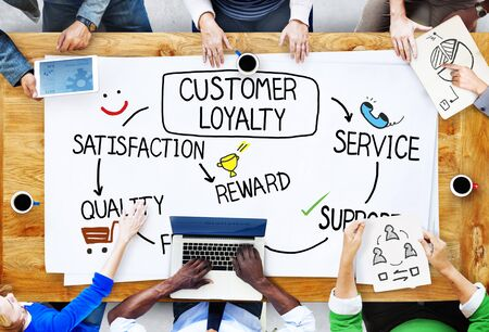 drawing a plan: Customer Loyalty Satisfaction Support Strategy Concept Stock Photo