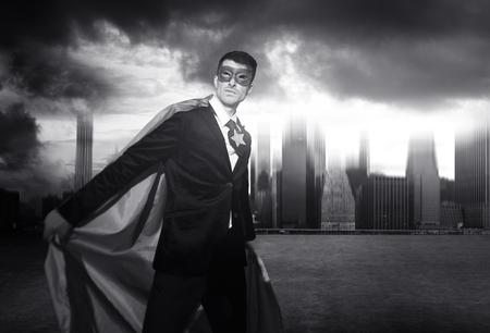 Superhero Businessman Strength Cityscape Cloudscape Concept Stock Photo