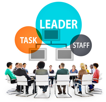 Brainstorming with leader concept Stock Photo