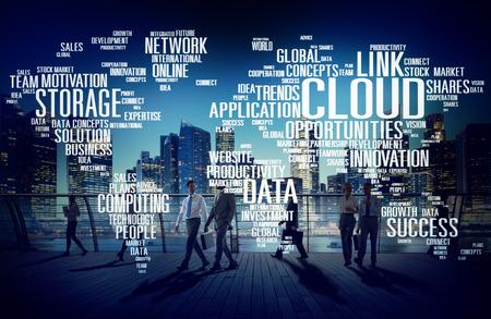 Lien Cloud Computing Technology de données d'information Concept Banque d'images - 44701569