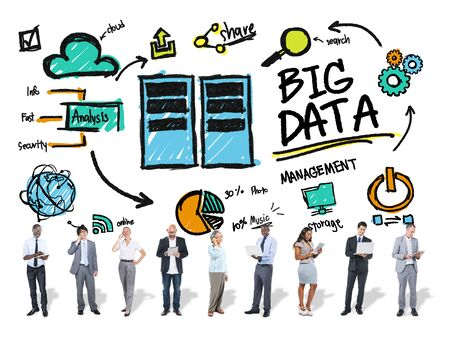 information analysis: Diversity Business People  Big Data Corporate Digital Devices Concept