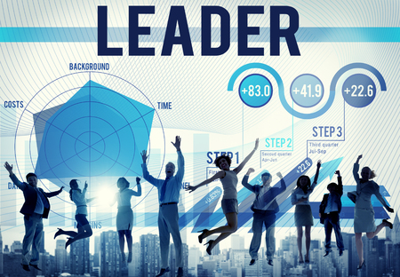 People jumping with leader and charts concept