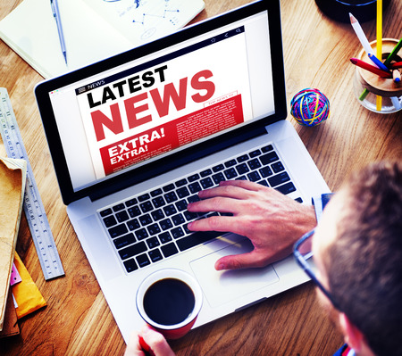 latest news: Digital Online Update Latest News Concept Stock Photo