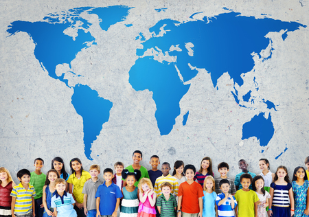 networking people: Global Globalization World Map Environmental Concservation Concept Stock Photo