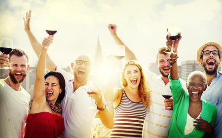 human relationships: Friends Friendship Celebration Outdoors Party Concept Stock Photo