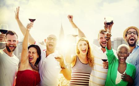 Vrienden Vriendschap Viering Outdoors Party Concept Stockfoto