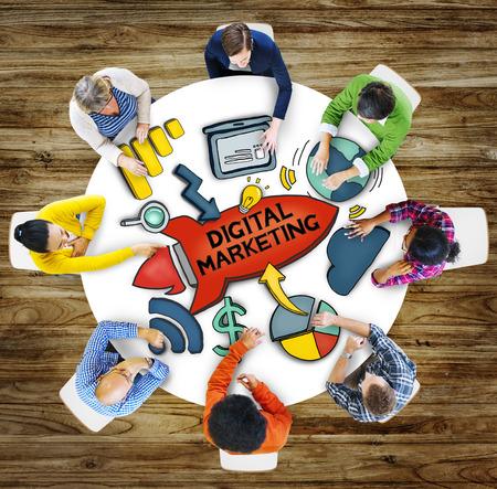 asian business team: People Teamwork Digital Marketing Advertisement Technology Internet Concept Stock Photo