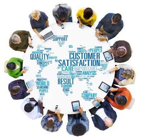 service desk: Customer Satisfaction Reliability Quality Service Concept Stock Photo