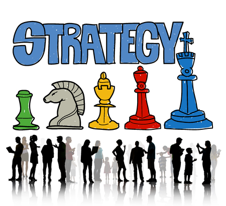 Strategy with chess pieces and people concept Stockfoto