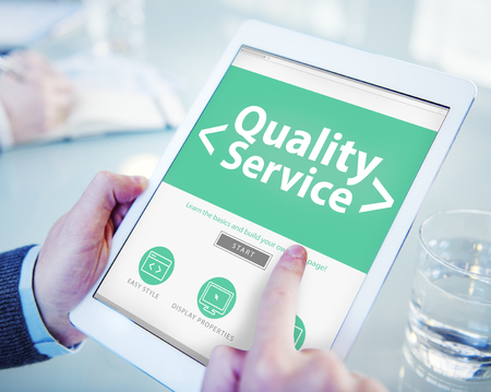 best quality: Digital Online Quality Service Office Working Concept Stock Photo