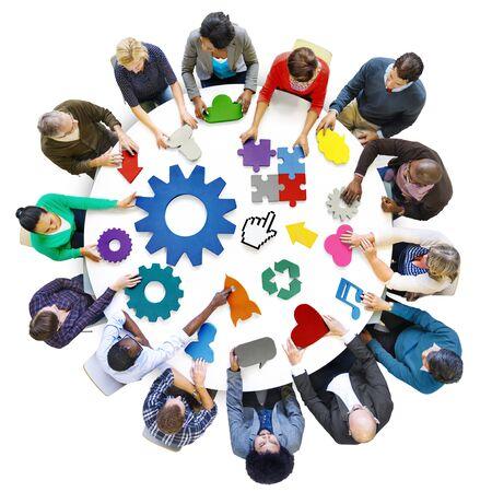 estrategia: Diversidad Planificar Trabajo en equipo Estrategia apoyo tecnológico Concepto Foto de archivo