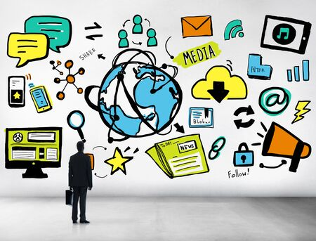 media room: Businessman Media Global Communication Looking up Concept Stock Photo