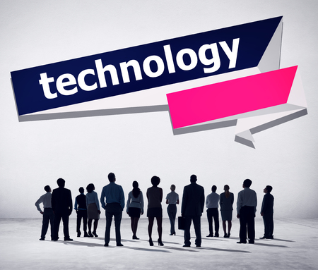 Silhouette of people with technology concept
