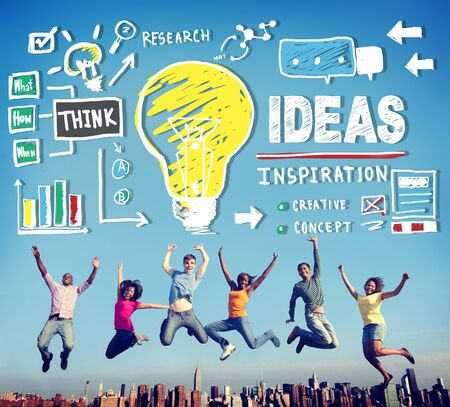 expressing artistic vision: Ideas Inspiration Think Creative Research Concept Stock Photo