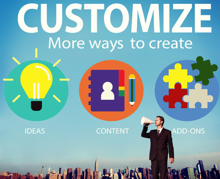 Customize Ideas Identity Individuality Innovation Personalize Concept Stock Photo