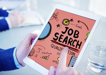 place of employment: Job Search Qualification Resume Recruitment Hiring Application Concept