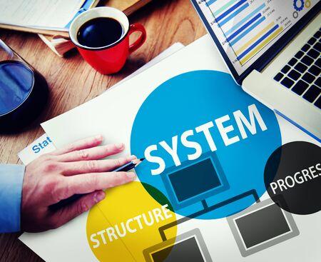 oficina desordenada: Estructura del sistema de Progreso Procesamiento Procedimiento Concepto Foto de archivo