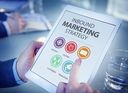 network marketing: Inbound Marketing Estrategia de Publicidad Comercial Branding Concept Foto de archivo