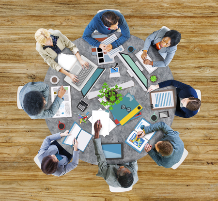 office computer: Aerial View Business Contemporary Working Meeting Casual Company Concept