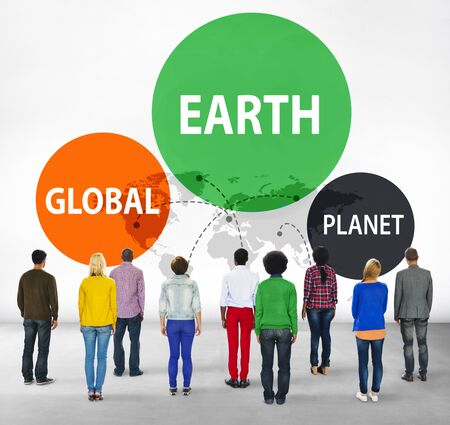 facing backwards: Earth Global Planet Globalization Connection Concept