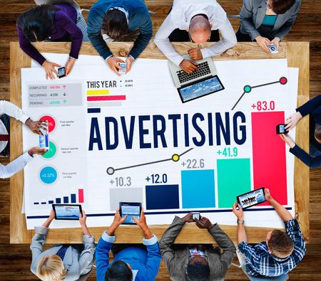 広告マーケティングの概念をブランディング キャンペーン プロモーション 写真素材